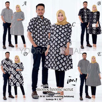 BAJU BATIK COUPLE MURAH Couple Tunik Monokrom Monochrome Serut Batik