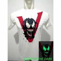 Baju Kaos Venom Movie Superhero Glow in the dark warna putih