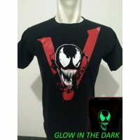 Baju Kaos Venom Movie Superhero Glow in the dark warna hitam