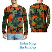 T-shirt Pria Tangan Panjang CAMO ARMY Jaman Now Keren Fullprint