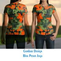 T-shirt Wanita Tangan Pendek CAMO ARMY keren Jaman Now Fullprint
