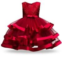 Baju Dress Pesta Anak Perempuan/Cewek-Dress Zizuka kids red-dress zuka