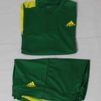 Stelan futsal hijau kuning kostum bola atau baju bola