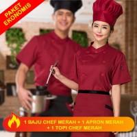 Set Combo Profesional Chef Baju + Apron + Topi Jamur Merah Pria Wanita