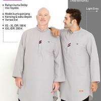 Baju Atasan Muslim Pria Koko Lengan Panjang Nibras NKR 63 Light Grey