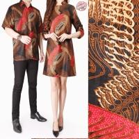 Couple Atasan Long Tunik Azka Midi Dress Batik dan Kemeja Batik Pria