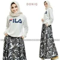 Gamis Dress FILA SET GREY Baju Muslim Fashion Muslimah