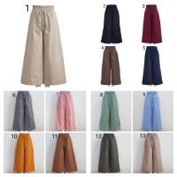 Celana Kulot Polos Katun Rami/Linen Fit M to XL