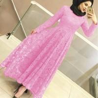 MAXI YUNI BRUKAT BABY PINK [Hijab 0121] SCN Baju Gamis Wanita Terbaru