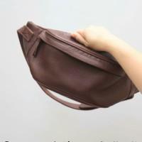 waist bag pria wanita kulit asli - tas kulit asli premium bahan import