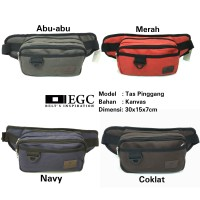 Tas Pinggang Kanvas Pria Sling Waist Bag Cowok Travel Bag Laki Kecil - Navy