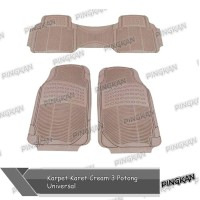 Karpet Karet Cream 3 Potong Universal Mobil Datsun Go+ Panca