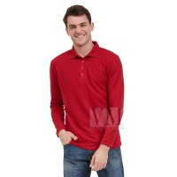 VM Kaos Polo Shirt Panjang Polos Merah Maroon