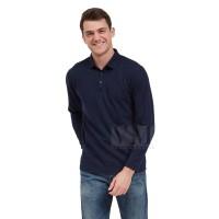 VM Kaos Polo Shirt Panjang Polos Lengan Panjang Biru Dongker