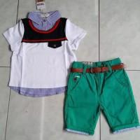 baju anak cowok import setelan kemeja kaos gucci pant belt fashion boy