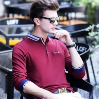 Nianjeep Pria Lengan Panjang POLO Pria Bisnis Kasual Polo Shirt Pria