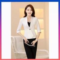 baju atasan wanita blouse korea jung blazer cardi blus blaser putih
