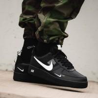 sepatu sneakers pria wanita nike air force 1 low lv8 triple black