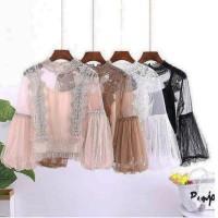 JES-PS2258 top blouse brokat mesh import korea-baju atasan casual
