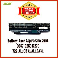 Baterai Original NoteBook Acer Aspire One D255 D257 D260 D270 722 - Hitam