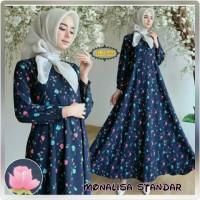 Khalisa Gamis Dress Monalisa Motif Bunga Pink Biru Warna Biru Dongker