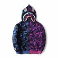 Jaket bape camo hoodie kaos bape shark
