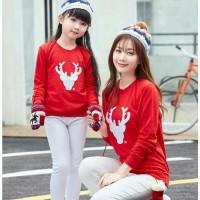 Baju natal couple - kembaran ibu dan anak - couple rusa merah