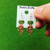 Anting Gold Rose charm korea kait Plastik/ Fashion Earrings Mawar Emas