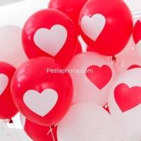 Balon Latex/Lateks Print Love/Hati 3,3 gram 12 inch
