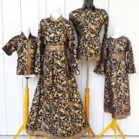 Couple Gamis Batik Prada Bakung Emas Set Anak Baju Batik Keluarga