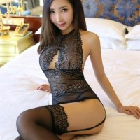 ACL0968 - Sexy Lingerie Bustier Transparan Garter Stocking Polos