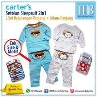 Carter 2 Setelan Baju Kaos Anak Bayi Celana Panjang Sleepsuit Piyama