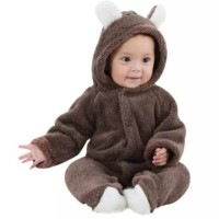 romper jumper bayi baby coklat bear hangat imut