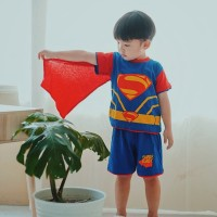 Dessan Baju Setelan Superhero Anak Laki-Laki Superman V4 Bersayap