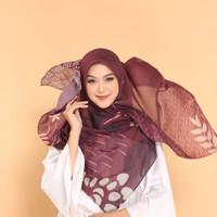 Hijab segi empat, motif maroon, Jilbab bahan voal, premium, jatuh,
