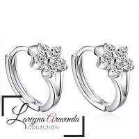 Anting Wanita Perak S925 Model Bunga Kristal Crystal Anti Karat AT025