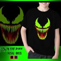 Baju Kaos Anak Cowok Venom Glow in the dark Superhero Karakter