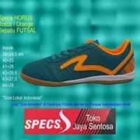 New Sepatu Futsal SPECS HORUS IN tosca/orange - Hijau Tosca, 40