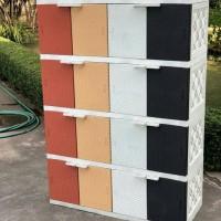 AKAKO - Lemari Plastik Motif Rotan 4 Susun 16 Pintu
