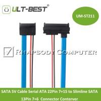 Kabel SATA 5V Cable Serial ATA 22Pin 7+15 to Slimline SATA 13Pin 7+6