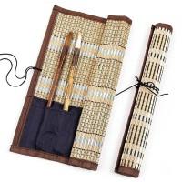 Tempat Kuas Kaligrafi Gulung Bambu China Dengan Kantong Cina