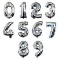 Balon Foil Huruf Angka Uk 40 cm Glossy / Balon Ulang Tahun Silver - Angka Silver