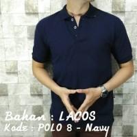 Kaos polo pria berkerah polos lengan pendek warna navy/biru dongker