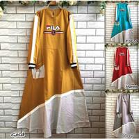 Baju Wanita Muslim Vila strip maxi bahan katun rami premium aplikasi