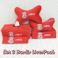 Bantal Mobil Set 3 Bordir Liverpool Merah