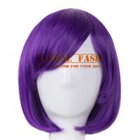 Wig bob ungu/ Wig pendek lurus / Wig Cosplay/ Rambut Palsu full