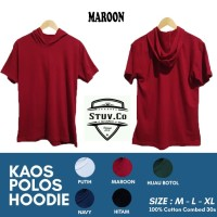 KAOS HOODIE POLOS COTTON COMBED 30s - Size S M L XL - WARNA MAROON