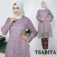 Kebaya Modern Brokat Tunik Gliter Set Purple