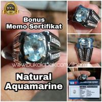 Cincin Natural Aquamarine Beryl Bonus Memo Sertifikat Ring Alpaka