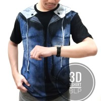 Kaos jas JAKET DENIM 3D Baju distro pria